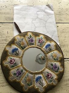 Vintage 1970s Handmade Tapestry Mirror With Original Template