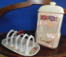 VINTAGE AUROURA PEARL GREY LUSTRE OATMEAL CANISTER AND TOAST RACK PRE-1940
