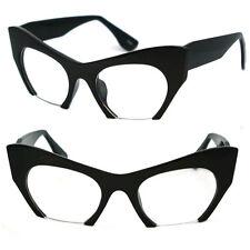 Runway Avant-garde Cropped Exposed Lens Cat Eye Optical Glasses Sunglasses - Blk