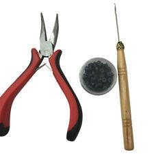 3PCS Feather Hair Extension Tool Set Kit Plier Hook 100pc Micro Link Bead  #ur