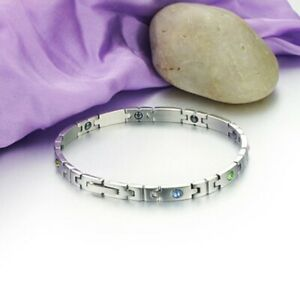 316L Stainless Steel Rhinestone CZ Bracelet Ladies Energy Magnetic Stone Bangle