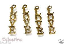 20 x Tibetan Silver - Gold Tone - LOVE Dropper Charms  - LF NF CF - 33mm - TS338