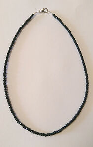 Sterling Silver Black Spinel Necklace; Length 45 cm.