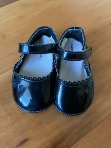 Baby Girl Size 2 Shiny Black Patent Leather Shoes