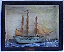 "Antique U.S.S. ""Constitution"" Hand Made Model Ship Cased Diorama"