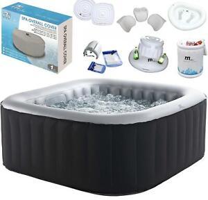 MSpa Self Inflatable Hot Tub 4-6 Person Jacuzzi Bubble Spa Square Accessories