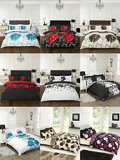 New Floral Duvet Cover Bedding Set Single Double King Super Size Pink Blue Black