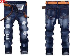 Fashion Men's Classic Jeans Casual Skinny Slim Fit Denim Pants Straight Trousers