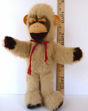 Monkey Ape Stuffed Toy Animal Blonde Wool Fur Beige Pink Felt 15 Inch 1950's Vtg