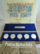 1970 5 PIDYON HABEN PROOF COINS SET +OLIVE WOOD BOX+CERTIFICATE 117g PURE SILVER