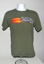 MENS HARLEY DAVIDSON MOTORCYCLE T SHIRT KUWAIT MEDIUM ARMY GREEN FLAMES CHROME