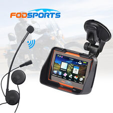 "4.3"" Motorcycle Bike GPS SAT NAV UK/Europe Maps Navigation 8GB+Bluetooth Headset"