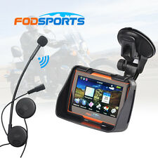 "4.3"" Waterproof Motorcycle GPS Navigation NAV Bluetooth Connect 8GB + Headset"