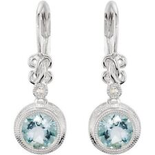 Genuine Aquamarine and Diamond Lever Back Earrings in 14kt White Gold