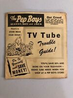 VERY RARE VINTAGE PEP BOYS TV/RADIO TROUBLE GUIDE ADVERTISING PAPER PAMPHLET