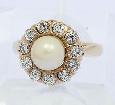 ♦♦ Ring in aus 14 kt 585er Gelb Gold mit Brillanten Brillant Diamant Zucht Perle