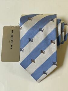 """NEW Burberry Blue White Stripes Mans 100% Silk Tie Authentic Italy 3.5"""" 0350412"""
