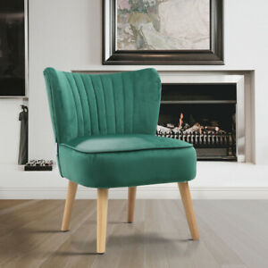 Accent Velvet Chair Retro Green Oyster Scallop Occasional Bedroom Dressing Seat