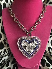 Tarina Tarantino HUGE Big Love Clear Denim Blue Lucite Heart Crystal Necklace