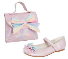 Girls Rainbow Glitter Bow Party Shoes + Matching Bag Set Ballet Pumps + Handbag