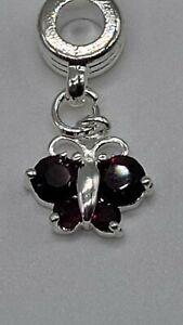 Silver/Purple Butterfly Pugster charm Add On To European & Pandora Bracelets
