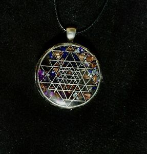 Gorgeous Amethyst And Copper Sacred Geometry Necklace