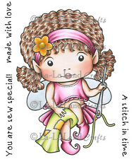 SEWING FAERIE MARCI-La-La Land Crafts Cling Mount Rubber Stamp-Stamping Craft