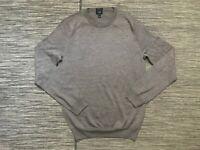 J Crew Adult Mens Medium Slim Merino Wool Crewneck Sweater Brown 96165