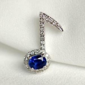 3CT Oval Cut Blue Sapphire Music Key Pendant Necklace 14k White Gold Finish