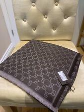 Authentic GUCCI scarf shawl GG Guccissima 140x140 cm wool silk BNWT Brown