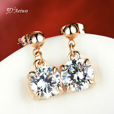 18K ROSE GOLD GF MADE WITH SWAROVSKI CRYSTAL WOMENS LADYIES STUD EARRINGS