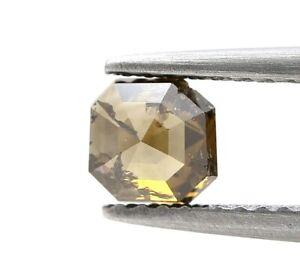 Decorato Diamante Naturale 0.68Ct Intensi Marrone Luccicante Ottagono Step Cut A