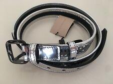 BURBERRY Ladies Stylish Silver Grey Black White Check Leather Belt FREE P&P