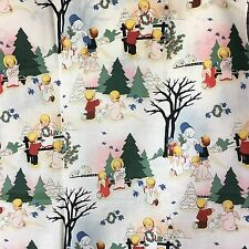 """Material Holiday Angels Outside Scene Vintage Pattern Cotton(?) 43"""" X 25"""" Fabric"""