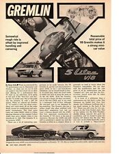 1972 AMC GREMLIN X 304 V-8 ~ ORIGINAL 2-PAGE ARTICLE / AD
