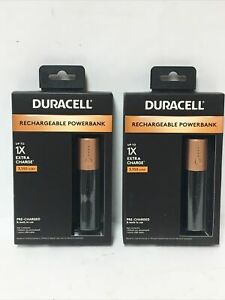 Lot Of (2) Duracell  1X  Rechargeable Power Bank  3350 mAh