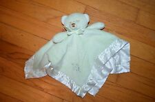 HTF Blankets & Beyond Green Sleep Bear Embroidered Rattle Security Blanket/Lovey