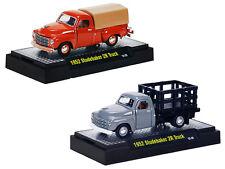 1952 STUDEBAKER 2R, 2 TRUCK SET W/CASES 1/64 M2 MACHINES 32600-DC02C