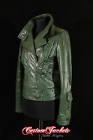 Ladies COSMOPOLITAN Green Designer Rock Fashion Girls Real Leather Jacket