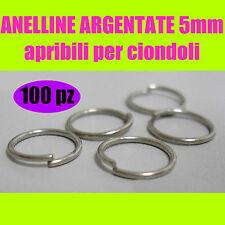 100x ANELLINE 5mm ARGENTATE orecchini ciondoli minuteria bigiotteria faidate DIY