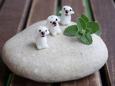 3 Lampworkperlen Hund weiß Glas Perle Hunde Dog Handarbeit