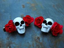 Hair Clips Skull and Red Roses Day of the Dead SET OF 2