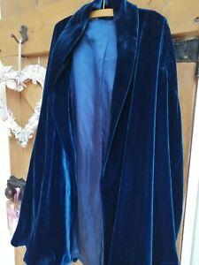 vintage boho glamerous  blue velvet look swing coat size s/m