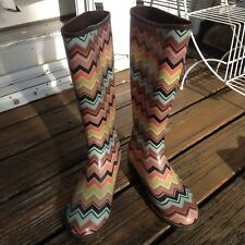Missoni Target Black Chevron Wellies Rain Boots 7 Zig Zag Galoshes Womens Shoes