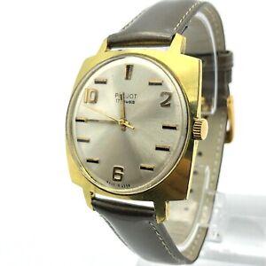 Vintage Watch POLJOT DRUNK Gold Plated Men's Mechanical USSR Horizontal Marks