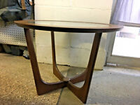2 Mid Century Modern 1960's Glass Inlay and Wood End Lamp tables Mint Condition