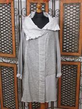 Barbara lanza leves chaqueta de lino en la mezcla de materiales en plata old look nuevo!!!