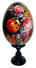Oeuf decore peint Coccinelle, oeuf en bois Coccinelle, Artisanat russe Oeufs