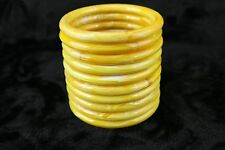 Vintage MARBELLA Lucite Plastic Yellow Gold Swirl Macramé Purse Handle Deadstock