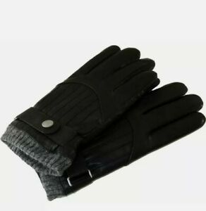 Polo Ralph Lauren Men's Black Lamb Leather Driving Gloves Thinsulate MEDIUM NWT